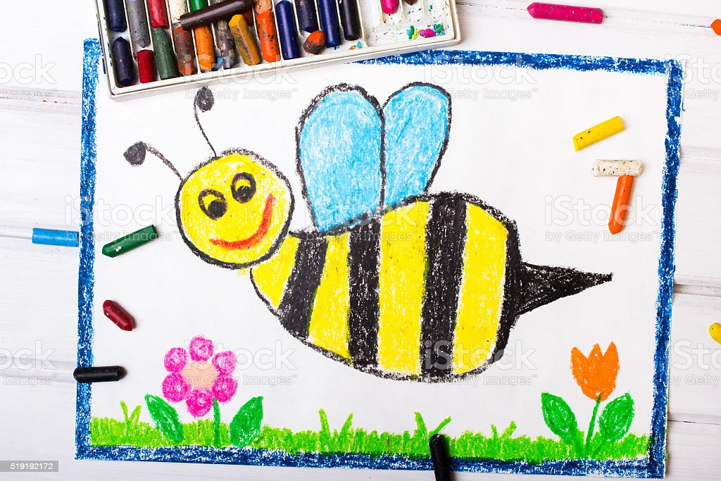 Colorful drawing - cute bee with happy face stock photo