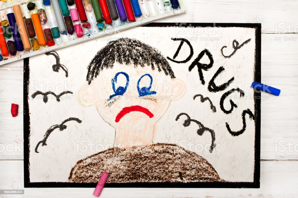 Colorful drawing: Drug addicted person. Sad and depressed man stock photo