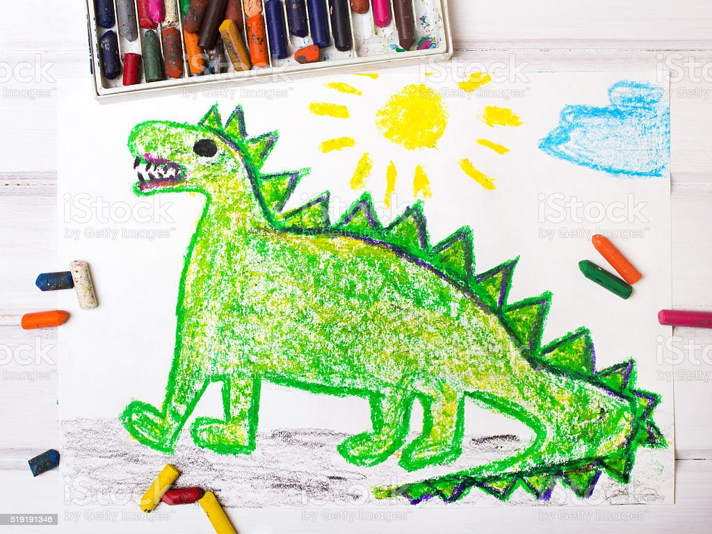colorful  drawing: green dragon stock photo