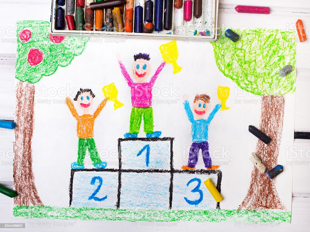 colorful drawing: happy children standing on the winner podium stock photo