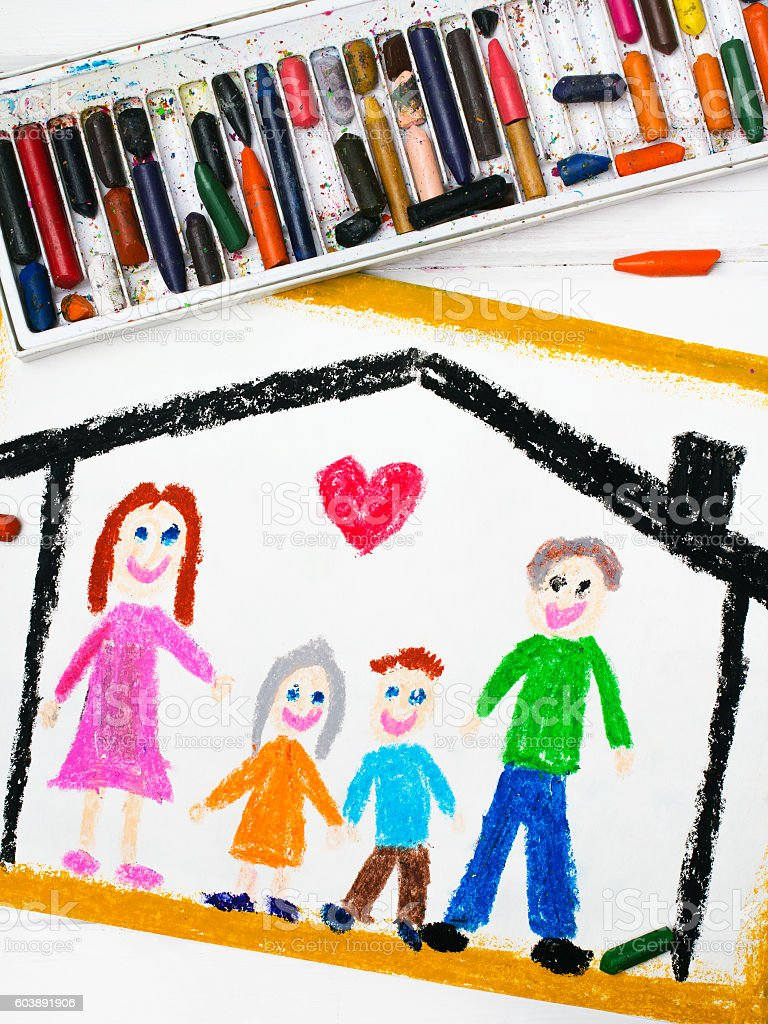 Colorful drawing: happy family at home stock photo