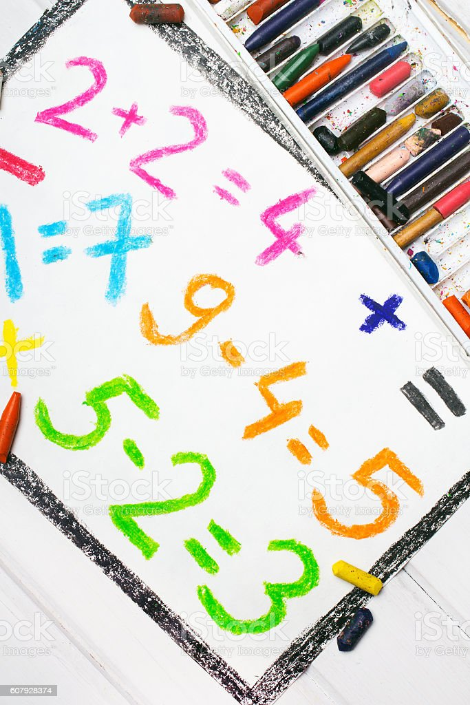 Colorful drawing: math operations stock photo