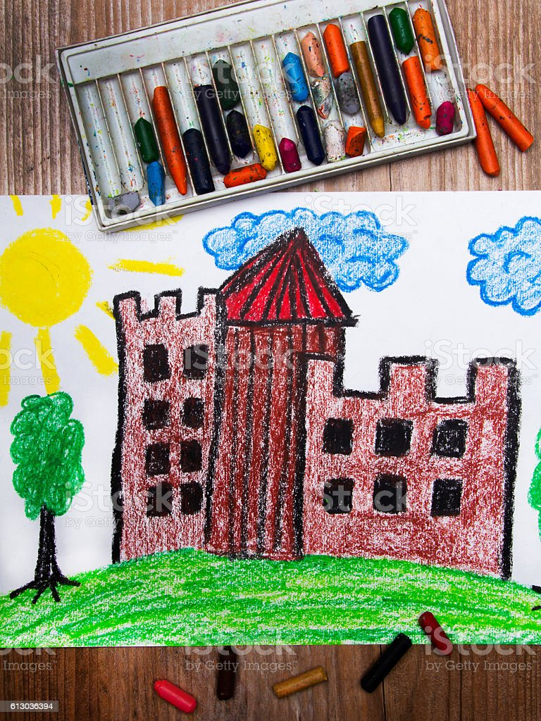 colorful drawing: medieval castle on the hill stock photo