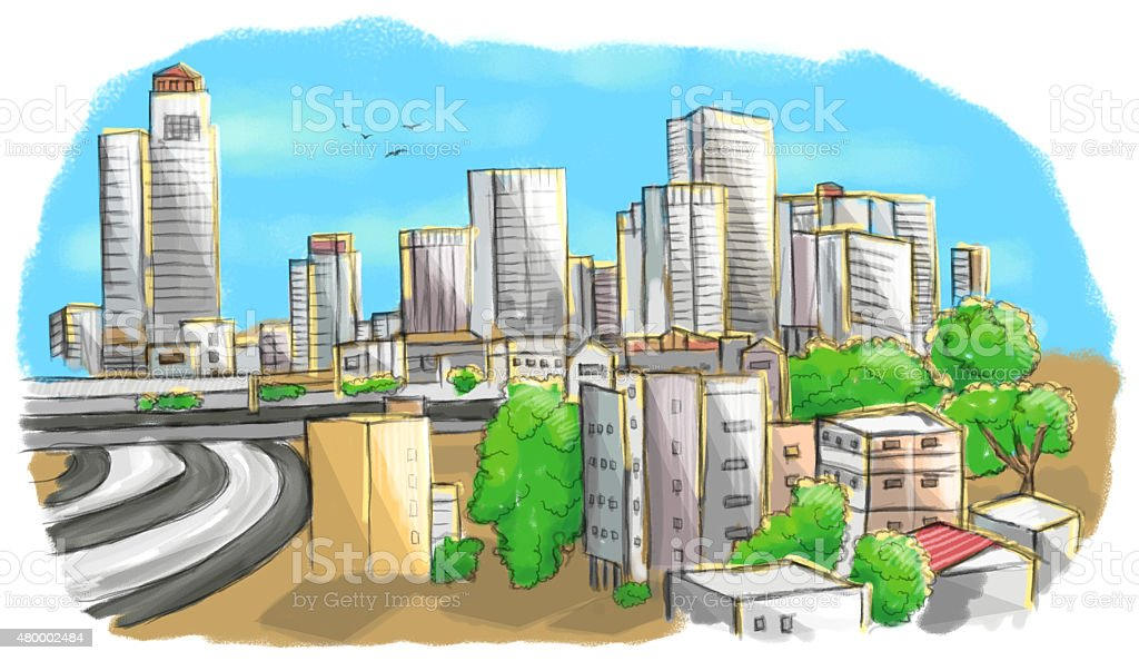 Colorful drawing of city skyline stock photo