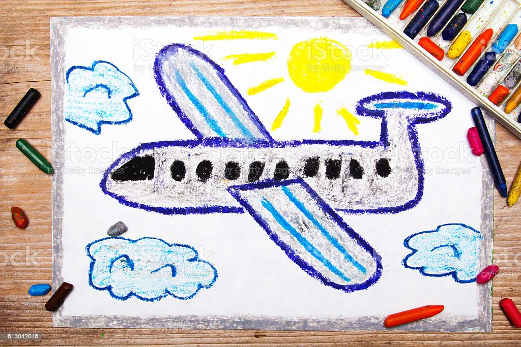 colorful drawing: passenger plane stock photo