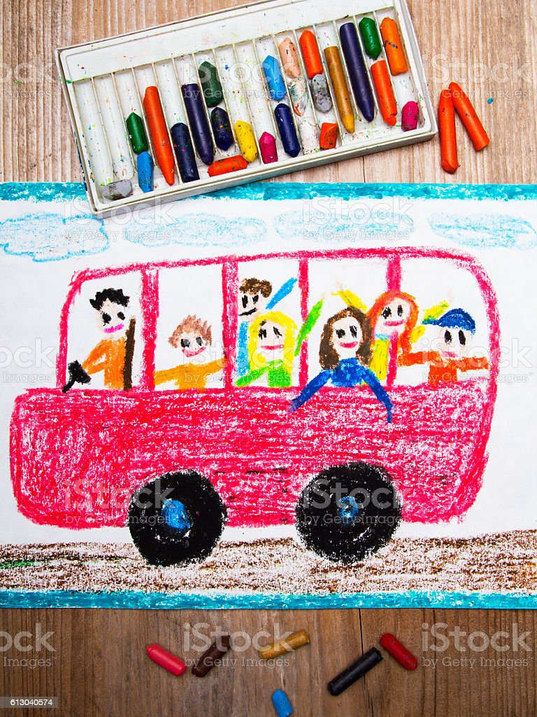 Colorful drawing - red school bus with happy children inside stock photo