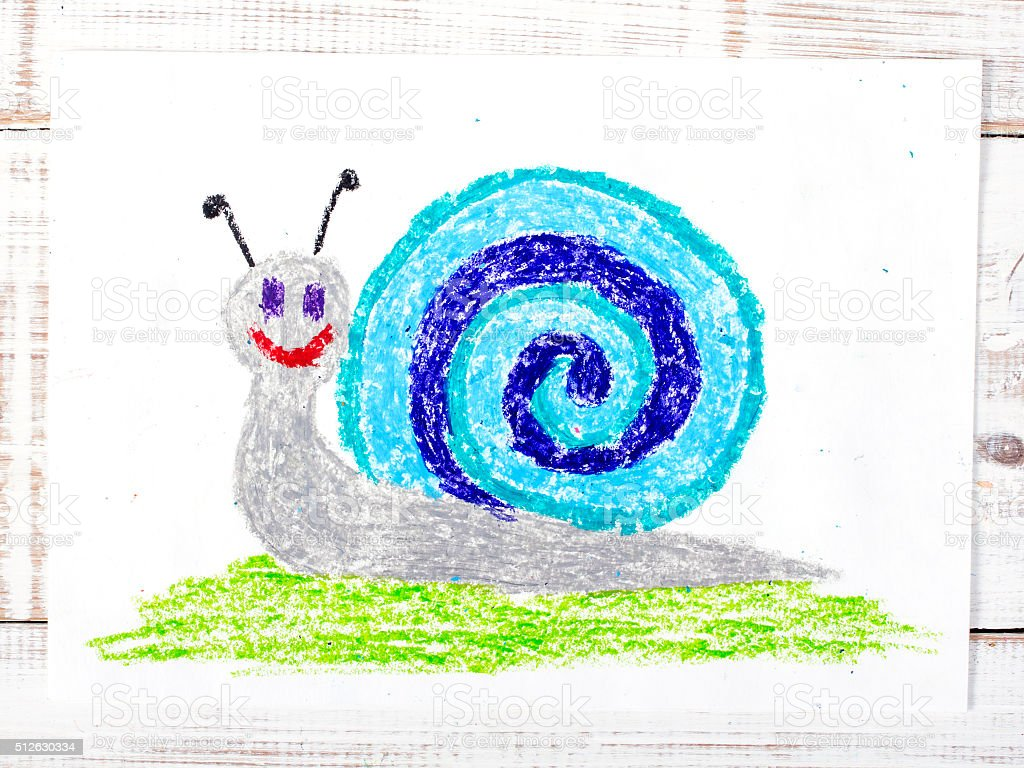 colorful drawing: snail with a shell stock photo