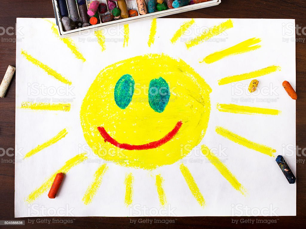 colorful drawing: sun with happy face stock photo
