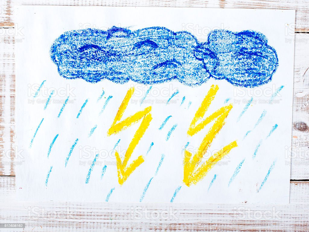 colorful drawing: thunderstorm stock photo