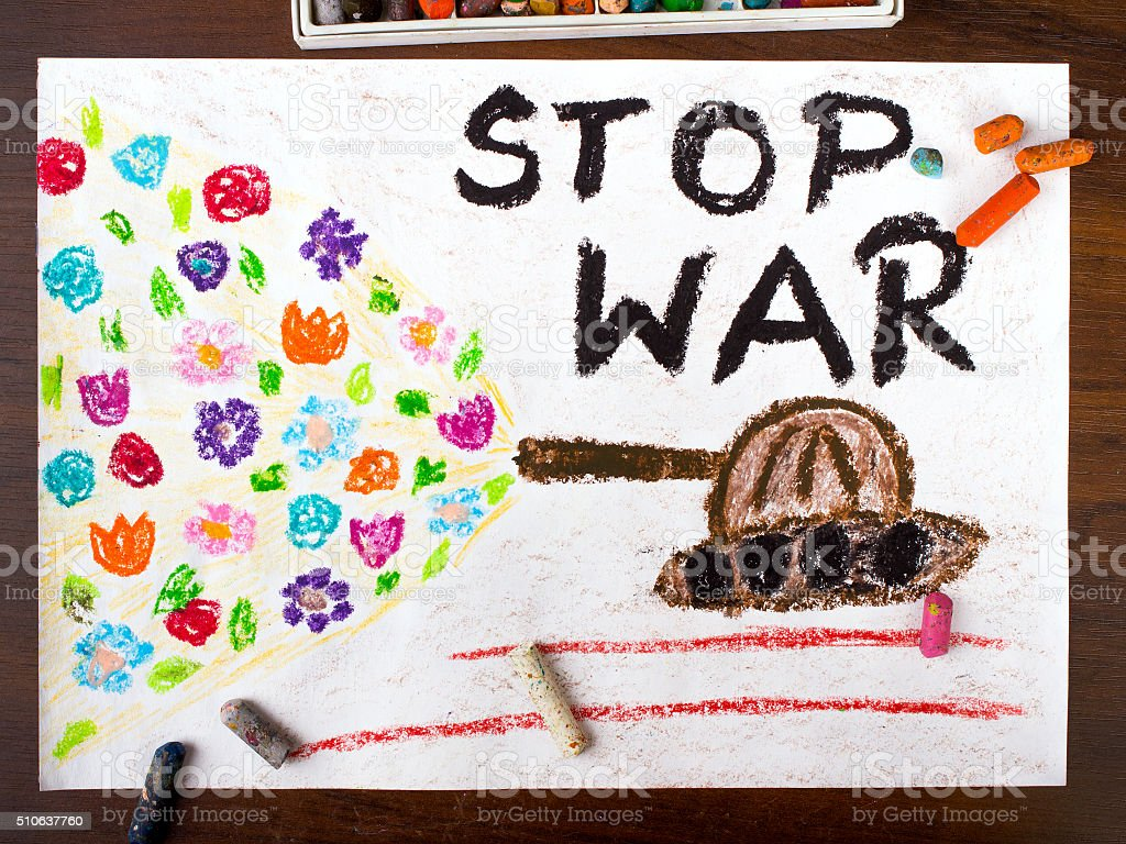 colorful drawing with the words 'stop war' stock photo