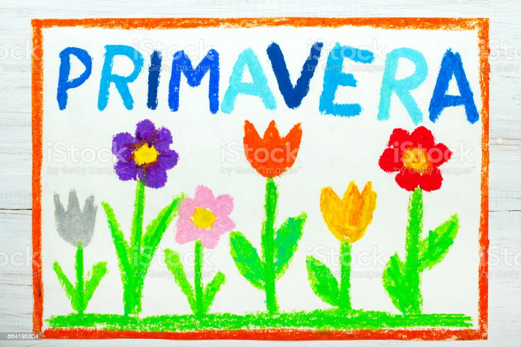 colorful drawing: word PRIMAVERA (Spring) and beautiful flowers stock photo