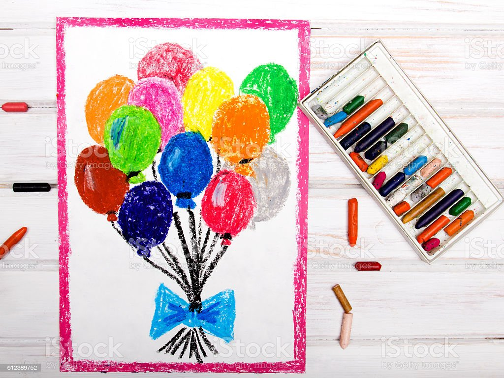 colorful drawings: colorful balloons stock photo