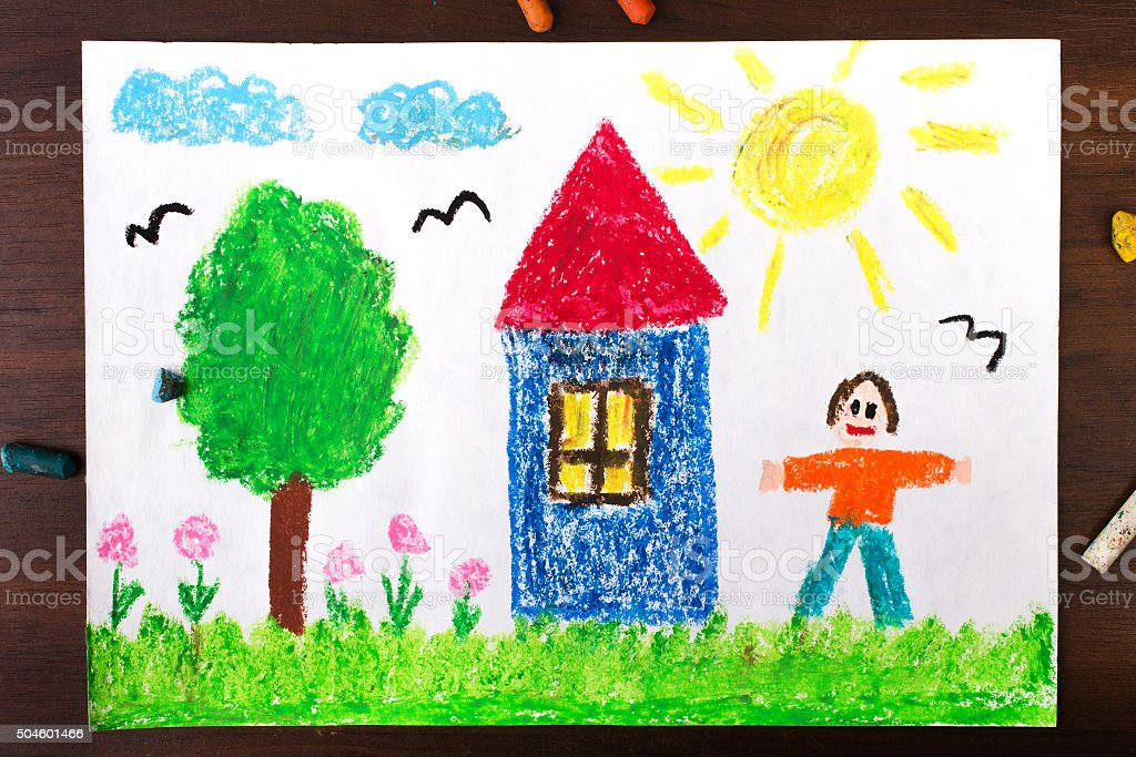 colorful drawings: country house and happy men stock photo