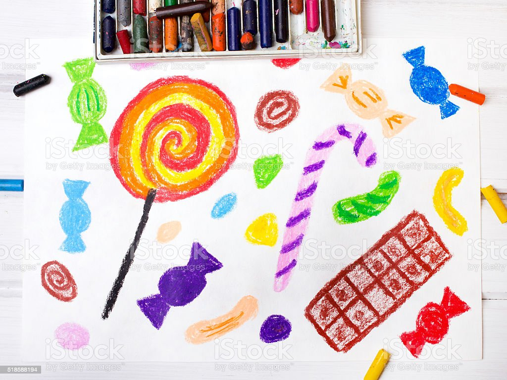 colorful drawings: sweets stock photo