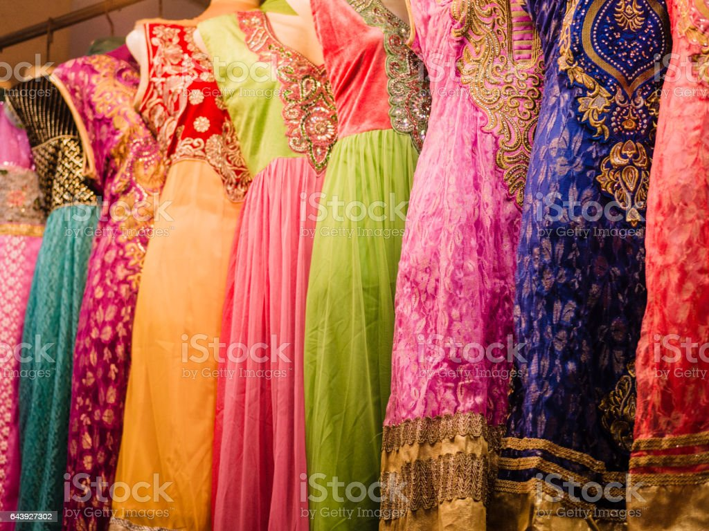 Colorful dress for sale stock photo