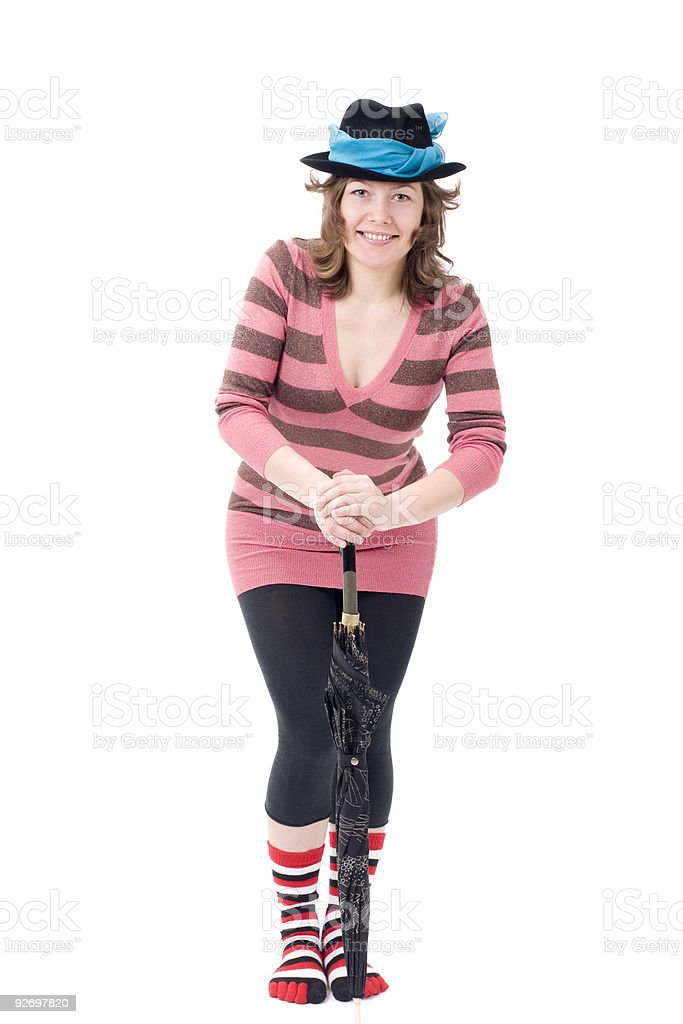 Colorful dressed female with umbrella II royalty-free stock photo