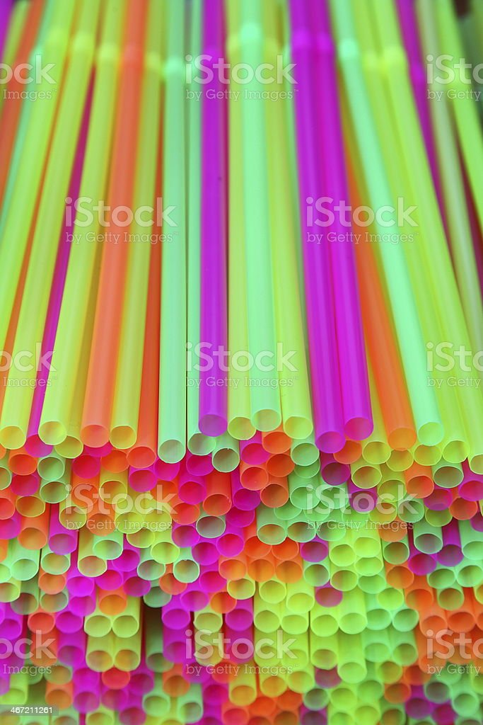 colorful drinking straw - shallow focus stock photo
