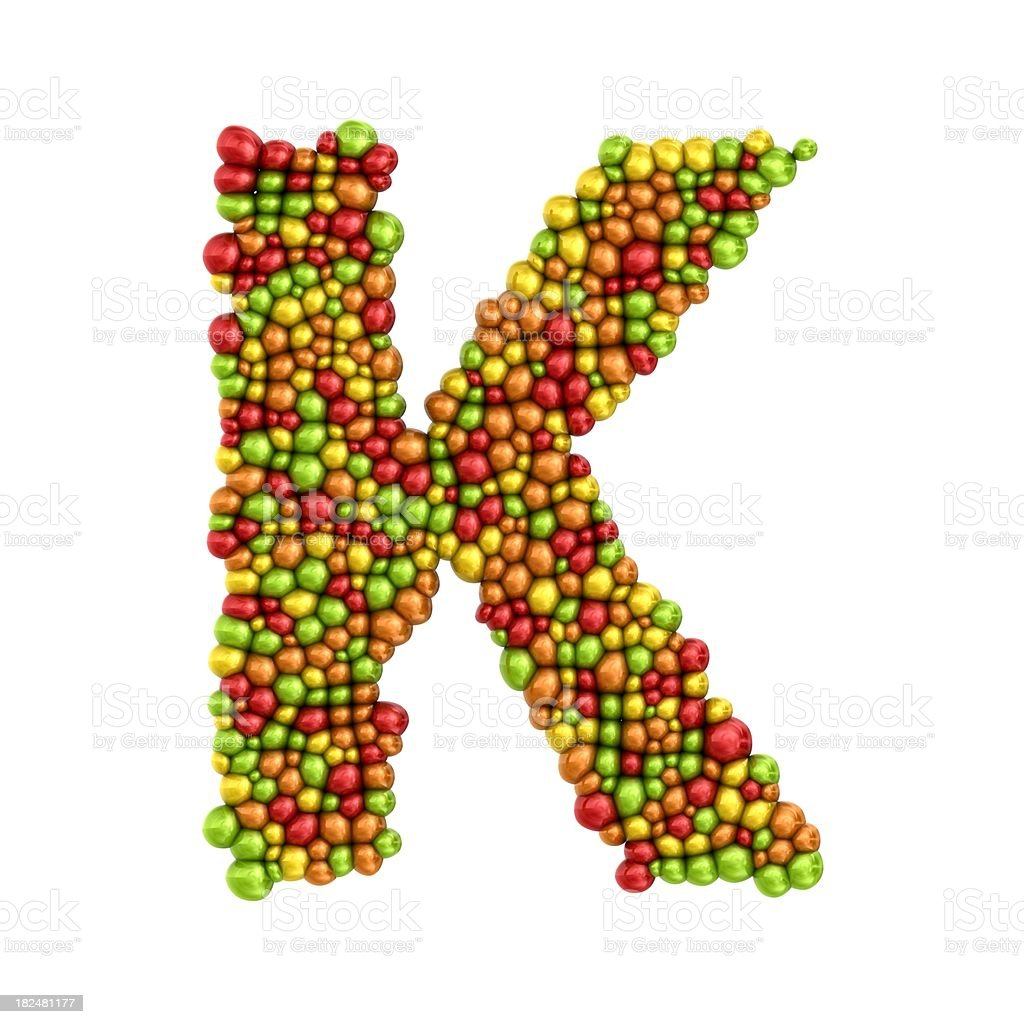 colorful drops letter K royalty-free stock photo