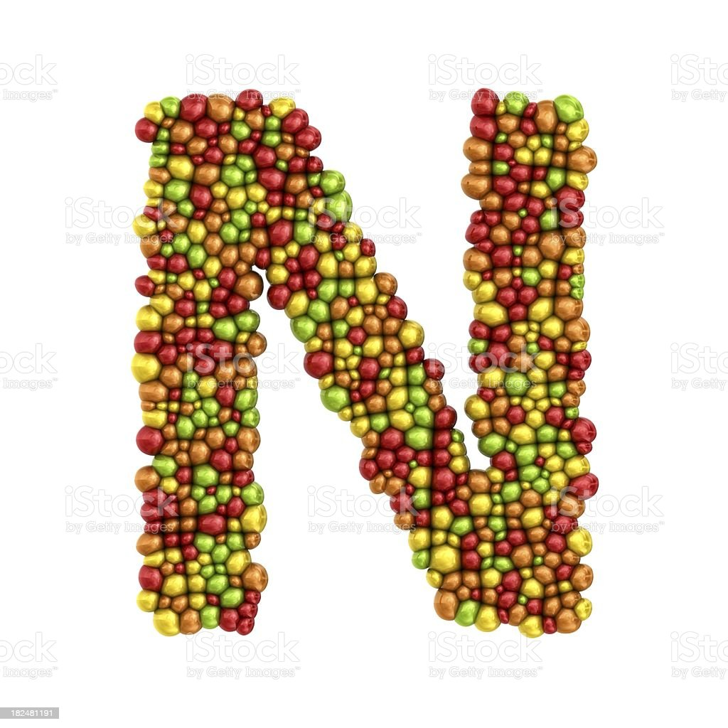 colorful drops letter N royalty-free stock photo