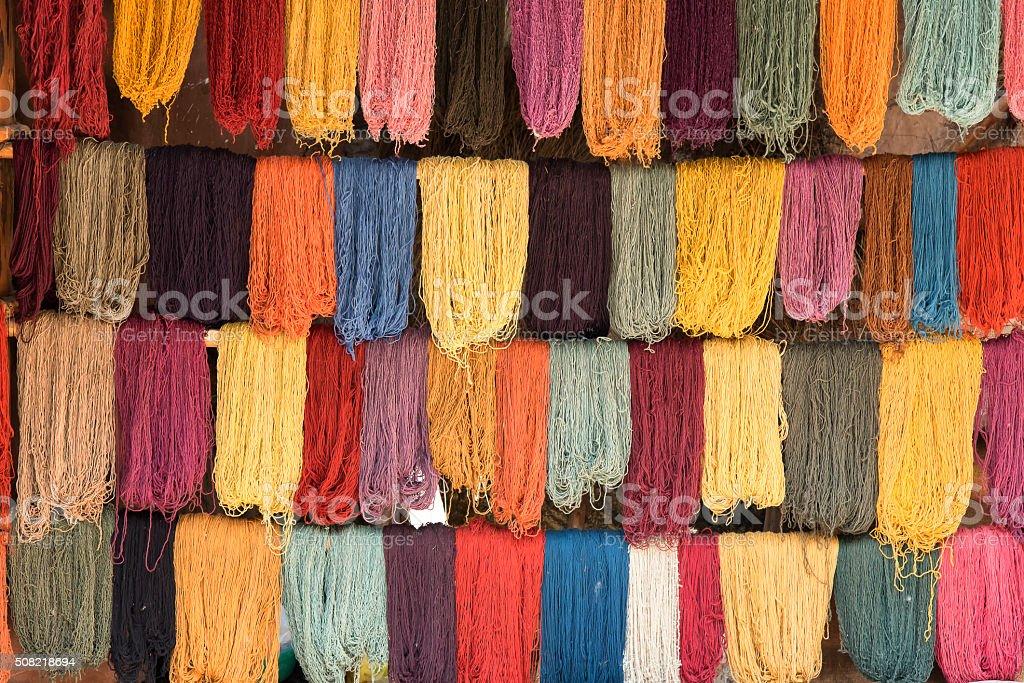 Colorful dye wool stock photo