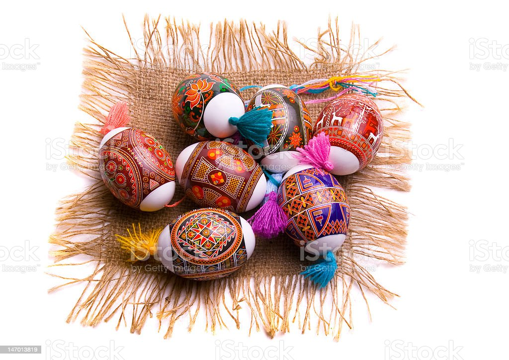 Colorful Easter egg on the napkin, isolated royalty-free stock photo