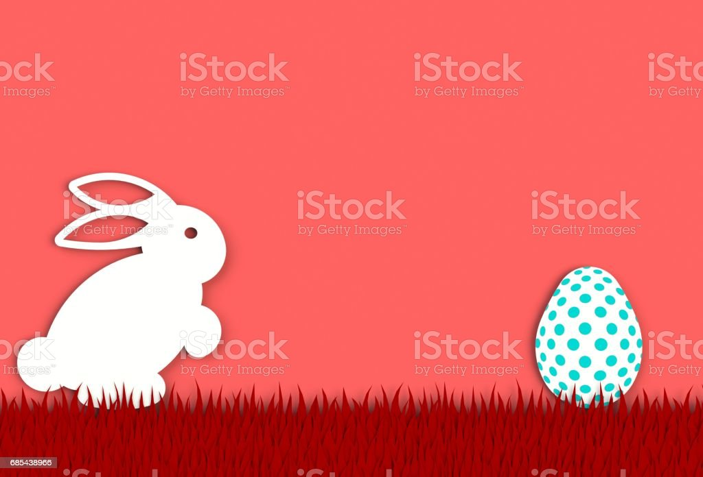 Colorful easter egg with rabbit isolated on red background, paper art and craft style. stock photo