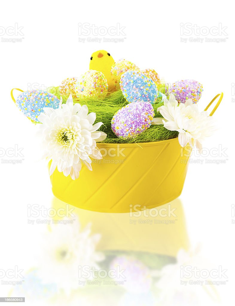 Colorful Easter eggs and chick royalty-free stock photo