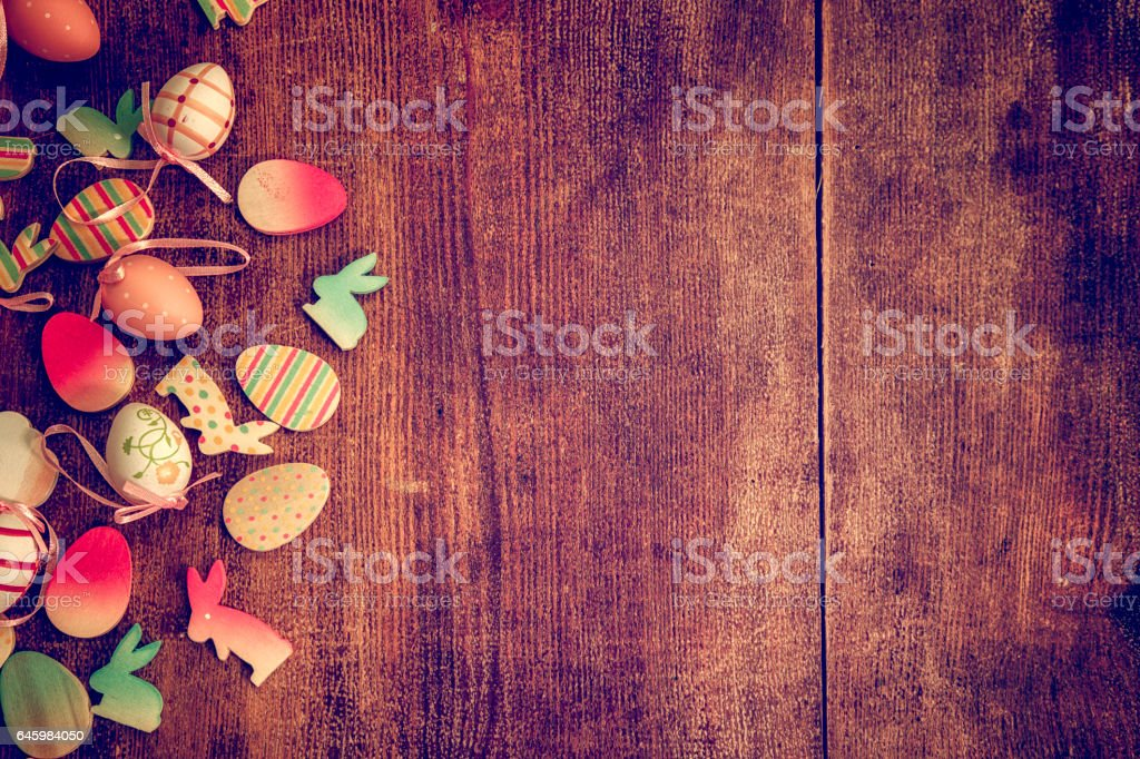 Colorful Easter Eggs and Easter Bunny Background stock photo