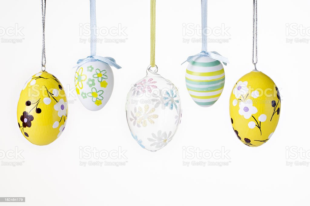 colorful Easter eggs decorated in pastel colors stock photo