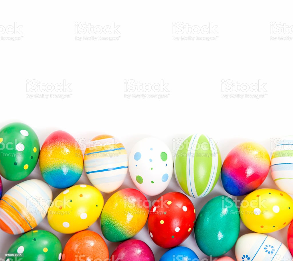 Colorful Easter Eggs Decorated on Wooden Background royalty-free stock photo