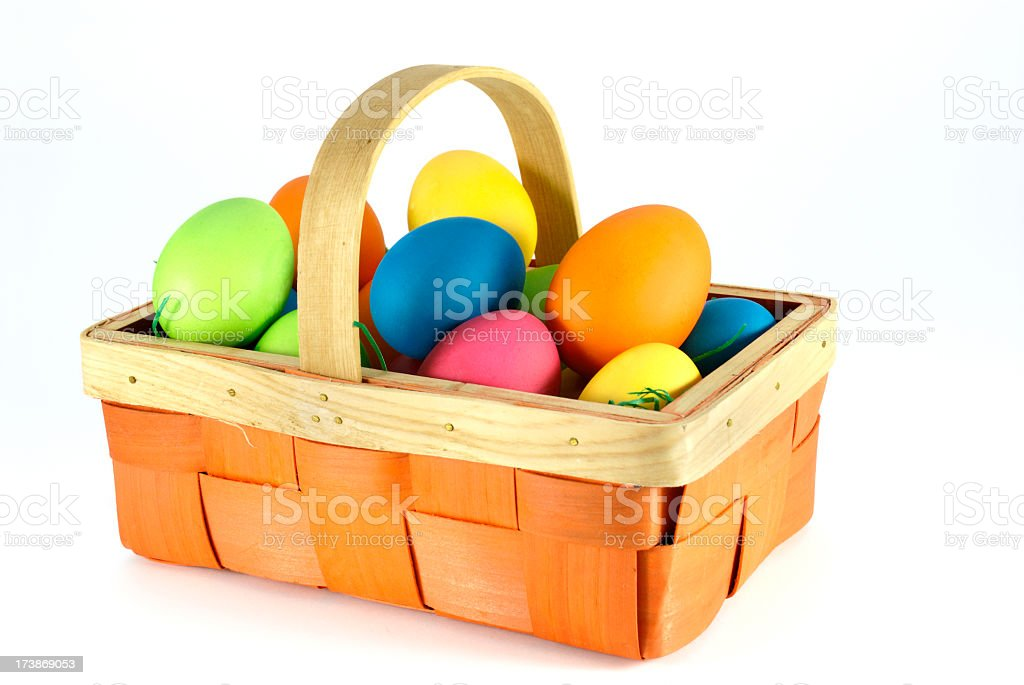Colorful Easter eggs in a picnic basket royalty-free stock photo