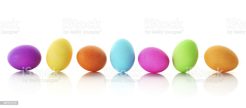 Colorful Easter eggs in a row stock photo