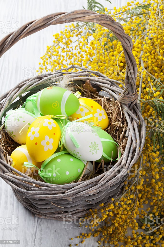 Colorful easter eggs in basket and mimosa stock photo