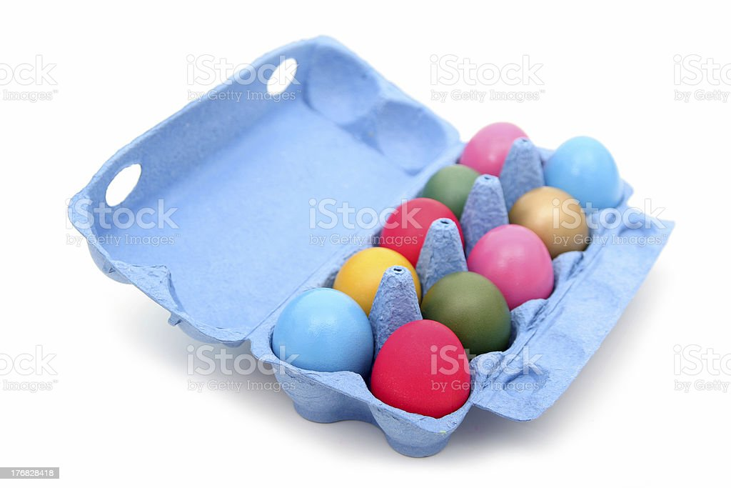 Colorful easter eggs in carton stock photo