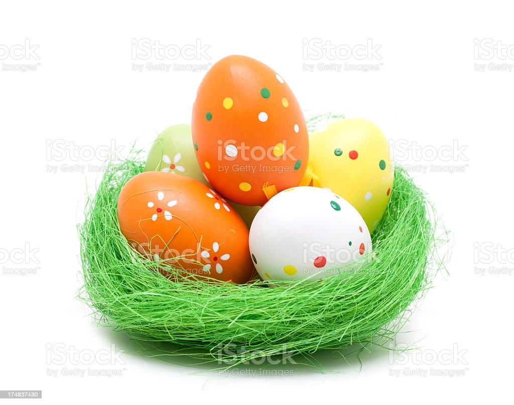 Colorful easter eggs isolated on white background royalty-free stock photo