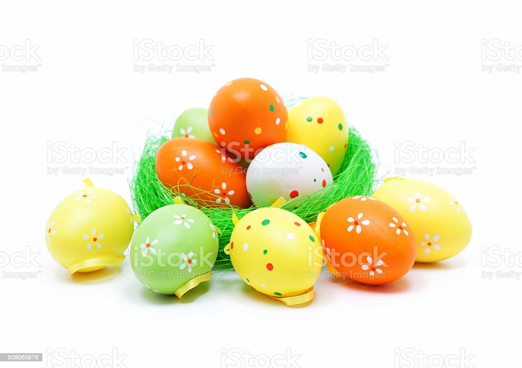 Colorful easter eggs isolated on white background stock photo