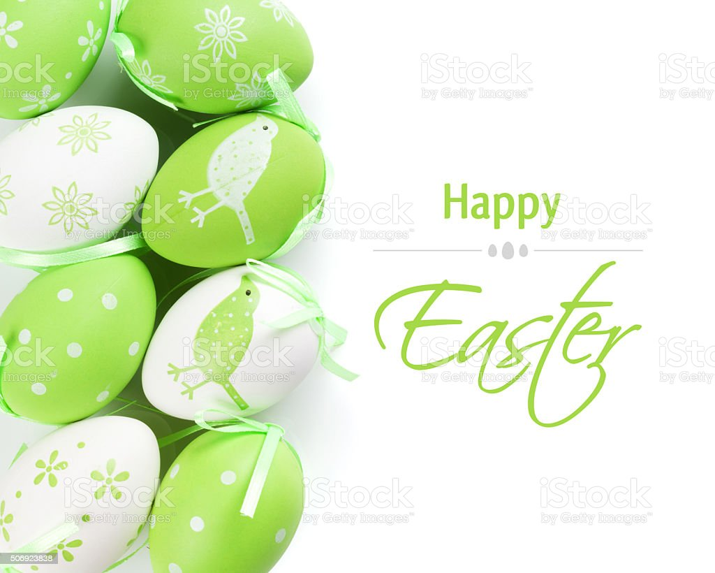 Colorful easter eggs. Isolated stock photo