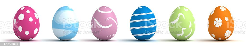 Colorful Easter Eggs on a white background  royalty-free stock photo