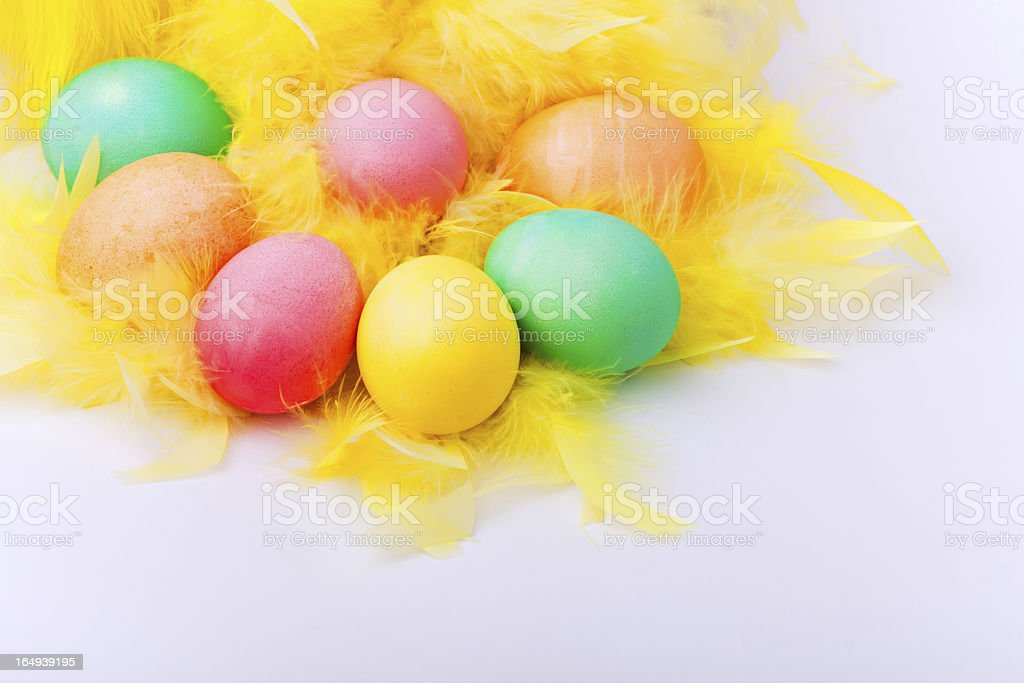 Colorful easter eggs on yellow feather royalty-free stock photo