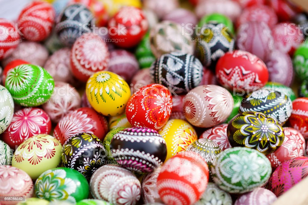 Colorful Easter eggs sold in annual traditional crafts fair in Vilnius stock photo
