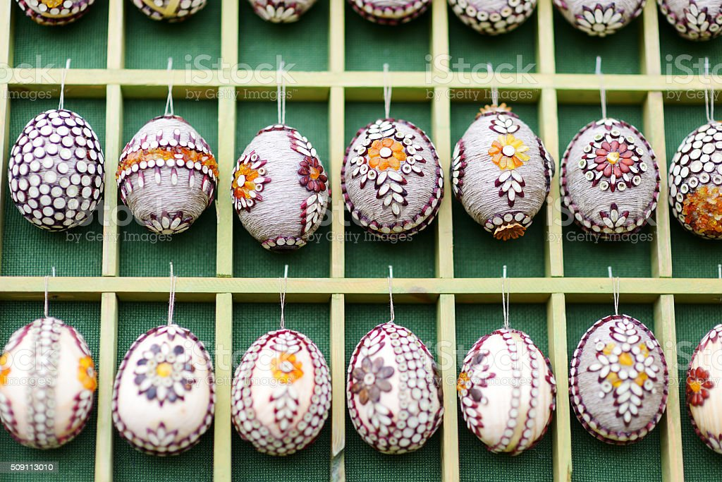 Colorful Easter eggs sold in traditional crafts fair in Vilnius stock photo