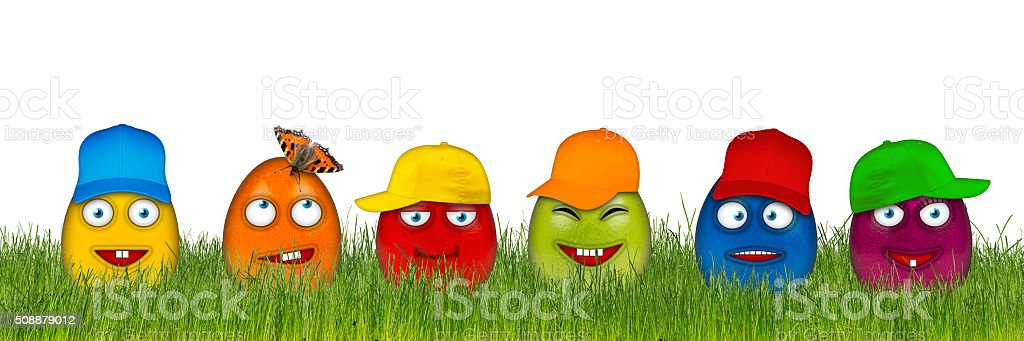colorful easter eggs with funny faces stock photo