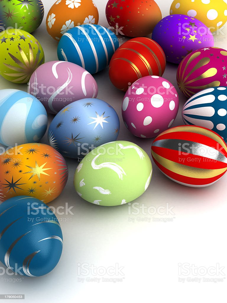 Colorful Easter eggs with metallic and white accents royalty-free stock photo