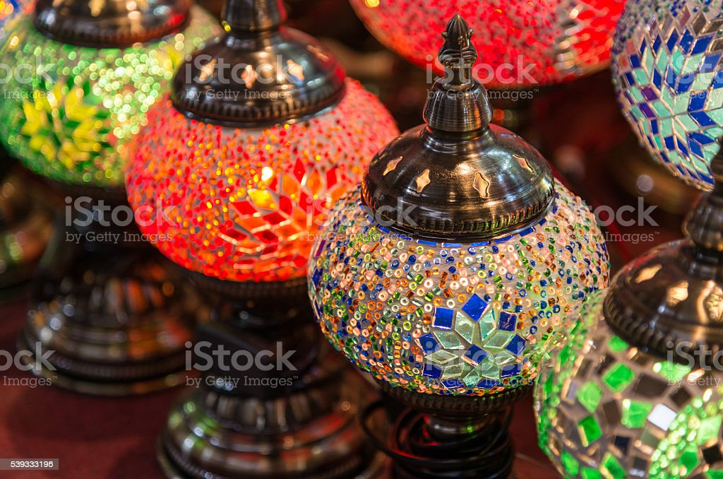 Colorful eastern lanterns stock photo