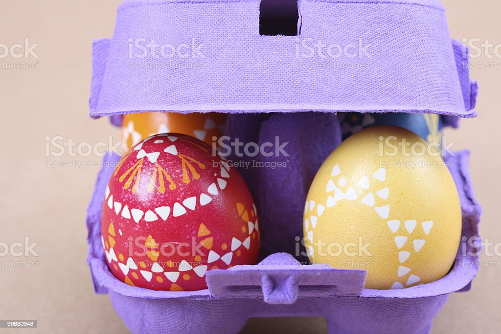 Colorful Eggs in Purple Box stock photo