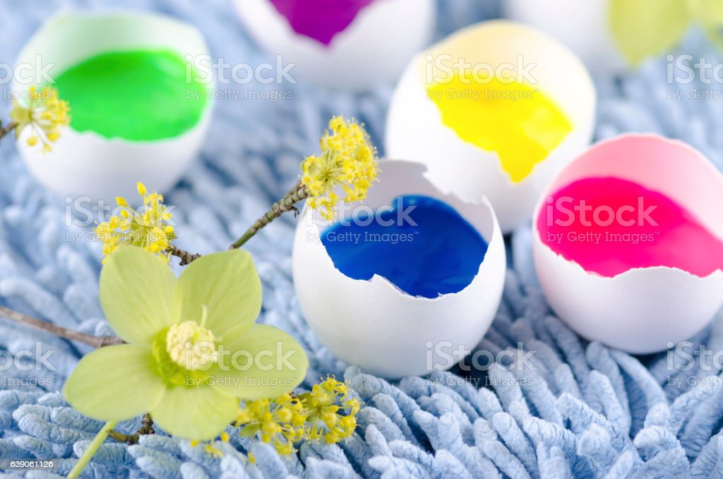 Colorful eggs shells for happy Easter decoration stock photo