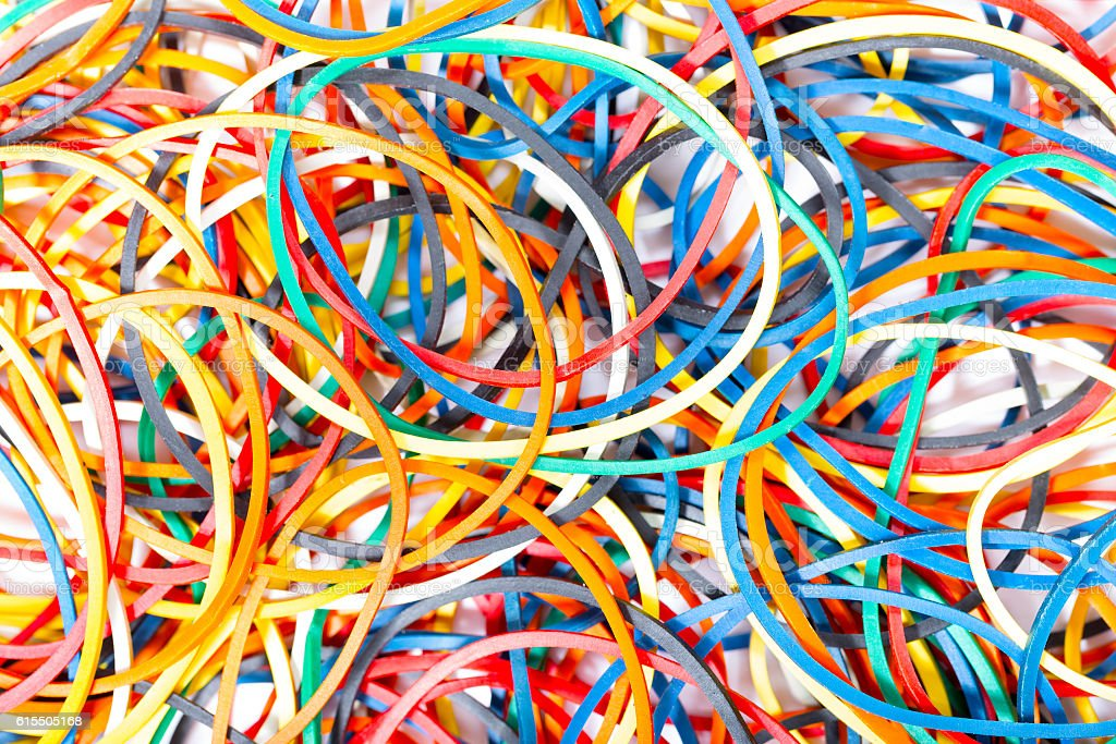Colorful elastic bands close up stock photo