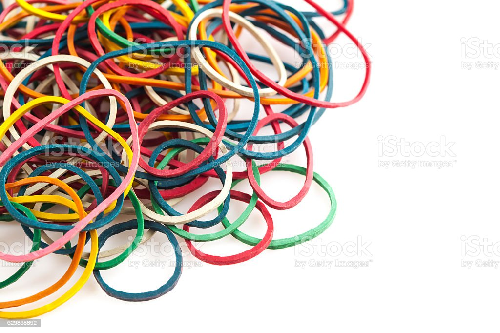 Colorful elastic bands stock photo