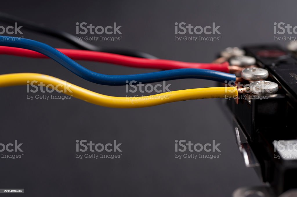 Colorful Electrical wires with copyspace stock photo
