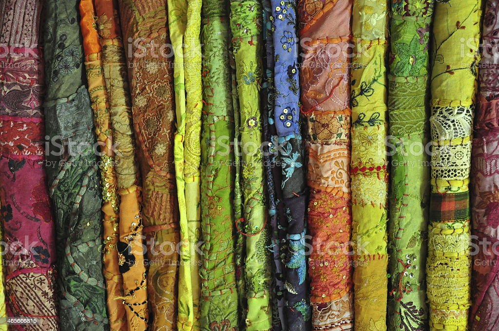 Colorful embroidery fabrics royalty-free stock photo